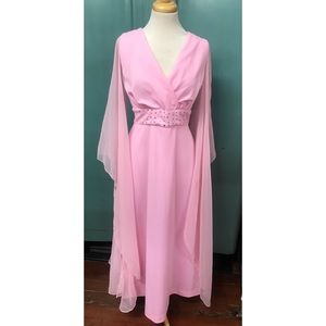 Medium 1970's Bubblegum Pink Maxi Dress Goddess M